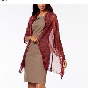 NWT INC burgundy/ gold wrap/scarf